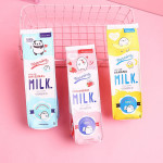 Cute stationery pouch kawaii large capacity pu leather milk pencil case