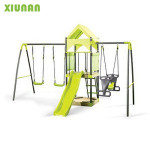 Outdoor Metal Playground Swing Set With Plastic Slide and wooden