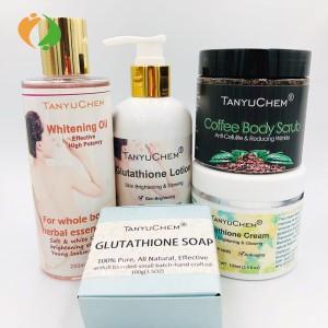 Whitening Brightening Kit Body Lotion Face Cream Coffee Scrub Soap Whitening Set for Black Skin