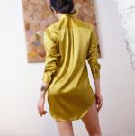 2018 Brand Female Silk Long Sleeve Nightdress Sleep Wear Loose Sleepwear Night Shirt Skirts Nightwear