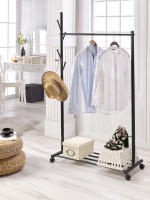 Black Color Handmade Wood Clothing Rack Bedroom Stand Hangers Clothes Garment Rack Portable Hanging