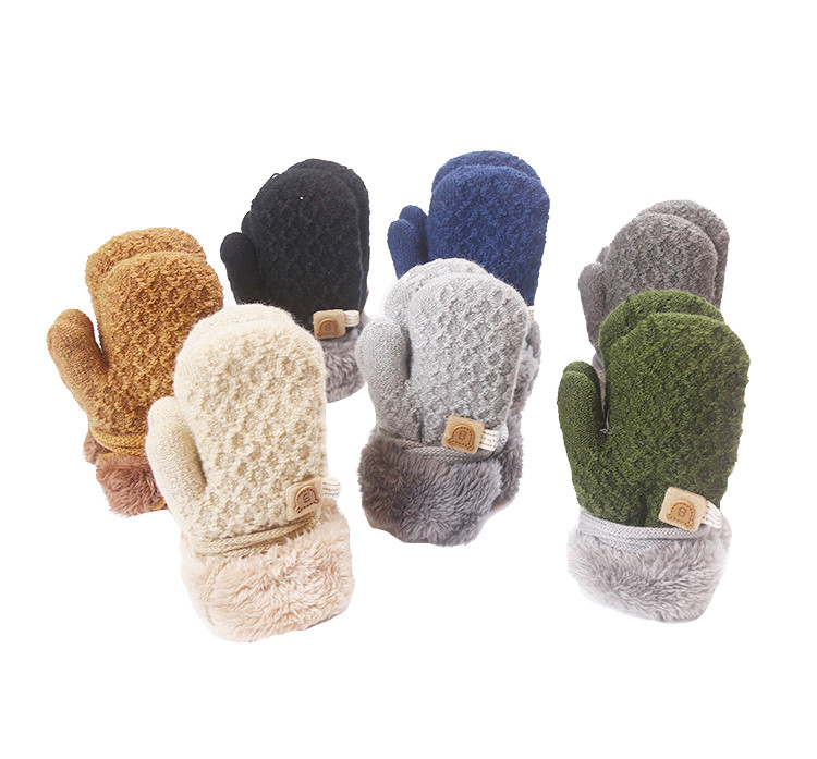 Cheap Price Double Knitting Wool Boys Girls Outdoors Thick Gloves Mittens For Children Students