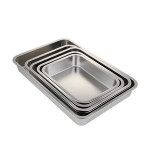 High Quality Stainless Steel Flat Bottom Meat Tray Deep Square Tray