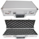 new design   silver aluminium gun case  / pistol carry case with egg sponge inside  and number locks  ,size 385*205*110MM
