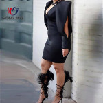 women Solid  deep v-neck long sleeves Solid Plunge Slit Sleeve Bodycon Dress back zipper closure Workwear casual banquet party