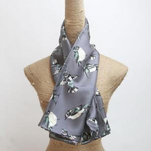 digital printed silk twill scarf foulard with birds design printed