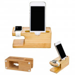 Stock on hand 2 In 1 Bamboo mobile phone holder charging base Lazy phone charger stand