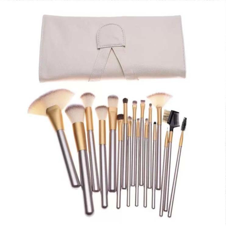 Import Synthetic Hair 18 PCS Professional Makeup Brush Set with Leather Bag from China