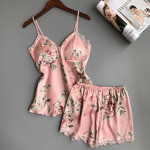 2018 Women Sleep Lounge Pajama Set Satin Sleepwear Sexy Pyjamas Women Summer Floral Pajamas with Chest Pad