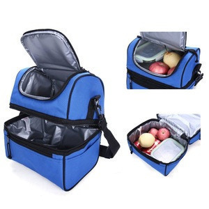Adult Lunch Box Insulated Lunch Bag Large Cooler Tote Bag for Men, Women, Double Deck Cooler(Navy Blue)