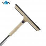 Household telescopic long pole extension 2 in 1 glass washing scraper window cleaner squeegee