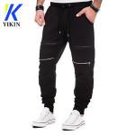 Men running elastic bottoms slim sport wear training professional jogging compression pants with knee zipper