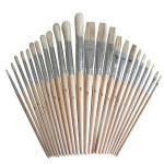 24pcs Artist Paint Brush Set Natural hog bristles with wooden handle includes 12 flat brushes and 12 round brushes