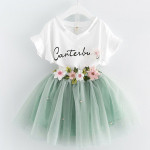 Bear Leader Girls Clothing Sets 2017 Brand Girls Clothes Butterfly Sleeve Letter T-shirt+Floral Volie girls skirts