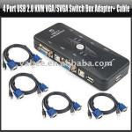 4 Port USB 2.0 KVM VGA/SVGA Switch Box Adapter+ Cable,YAN403A