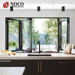 Villa balcony designs window / double pane tempered low e glass black window / aluminium bi-folding windows and doors