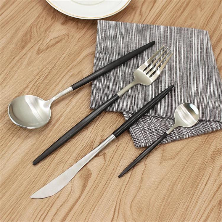 Black PVD coating satin finish high quality stainless steel cutlery set/Stainless Steel Flatware/Tableware