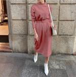 Latest Women Solid Warm Dress Straight Knitted Casual Long Sleeve Midi Autumn Chic Streetwear Ladies Work Belt