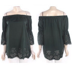 Female Clothing Collection New Arrival  Flower Hollow Half Sleeve Off Shoulder  Blouses