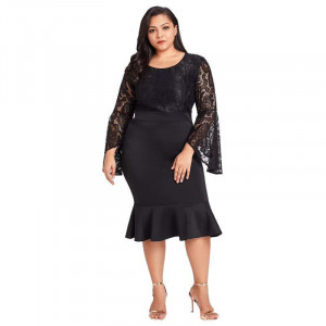 Plus Size Flared Sleeve Ruffled Fishtail Skirt