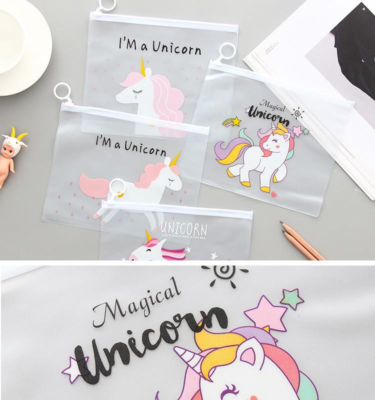 Cheap Wholesale School Office Stationery Clear Kawaii Unicorn Transparent Custom Cute Kids Pencil Case
