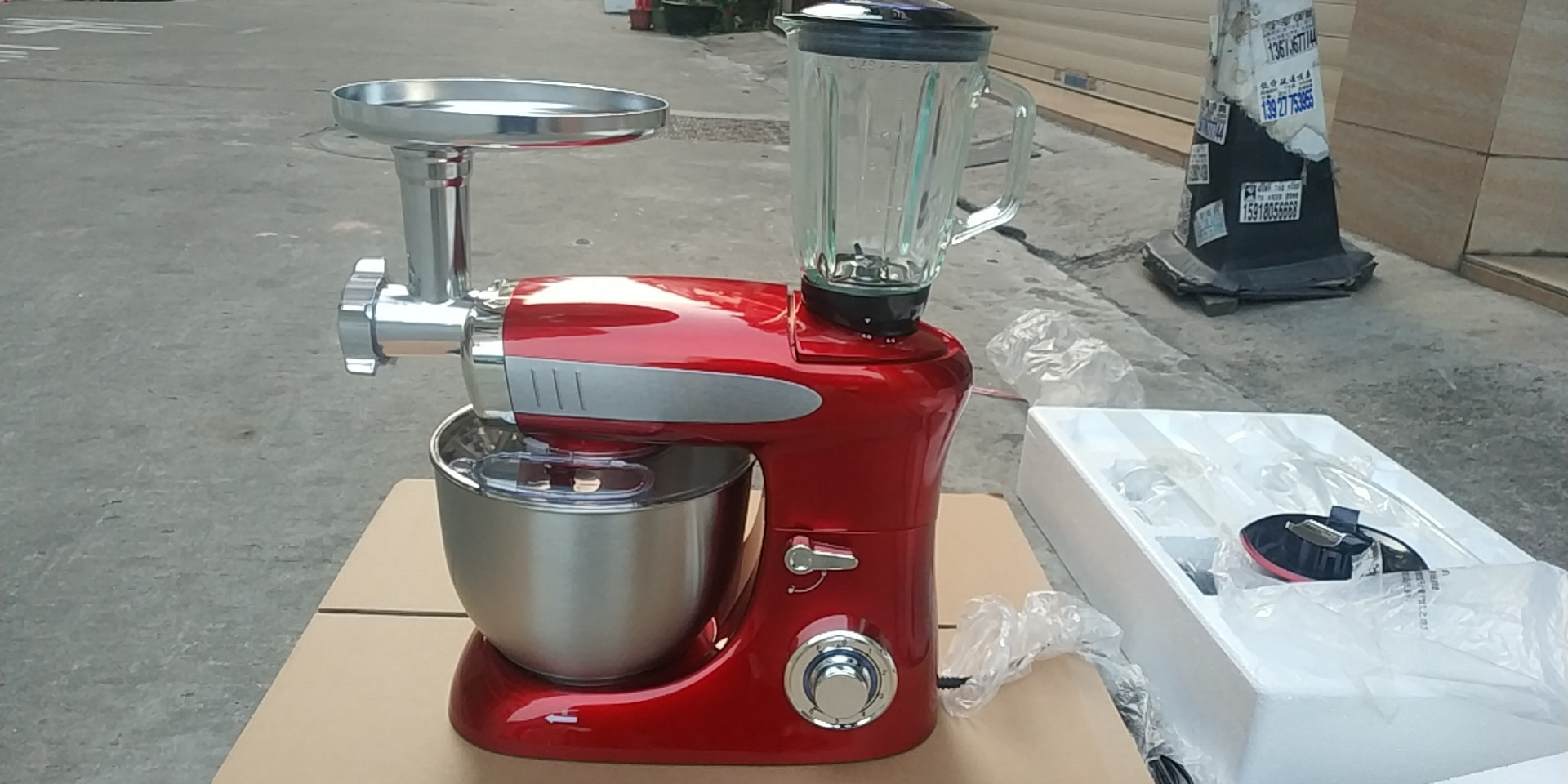 1000W 3 in 1 multi-function planetary stand food mixer with meat grinder & blender & 4L bowl