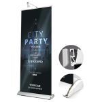 Trade show teardrop base promo aluminum material roll up banner stand