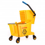 Durable street cleaning cart plastic spin mop wringer bucket with wheels