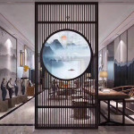 privacy panel room divider decorative partition gold metal screen