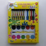 kids 21pcs coloring brushes crayons color pencils water colors  sets