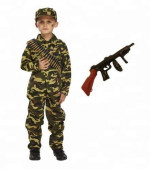 Child Boys Kids Army Soldier Fancy Dress Costume Party Uniform Military Outfit CA481