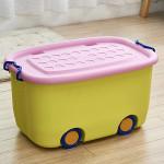 Wholesale cartoon plastic toy storage box with wheel