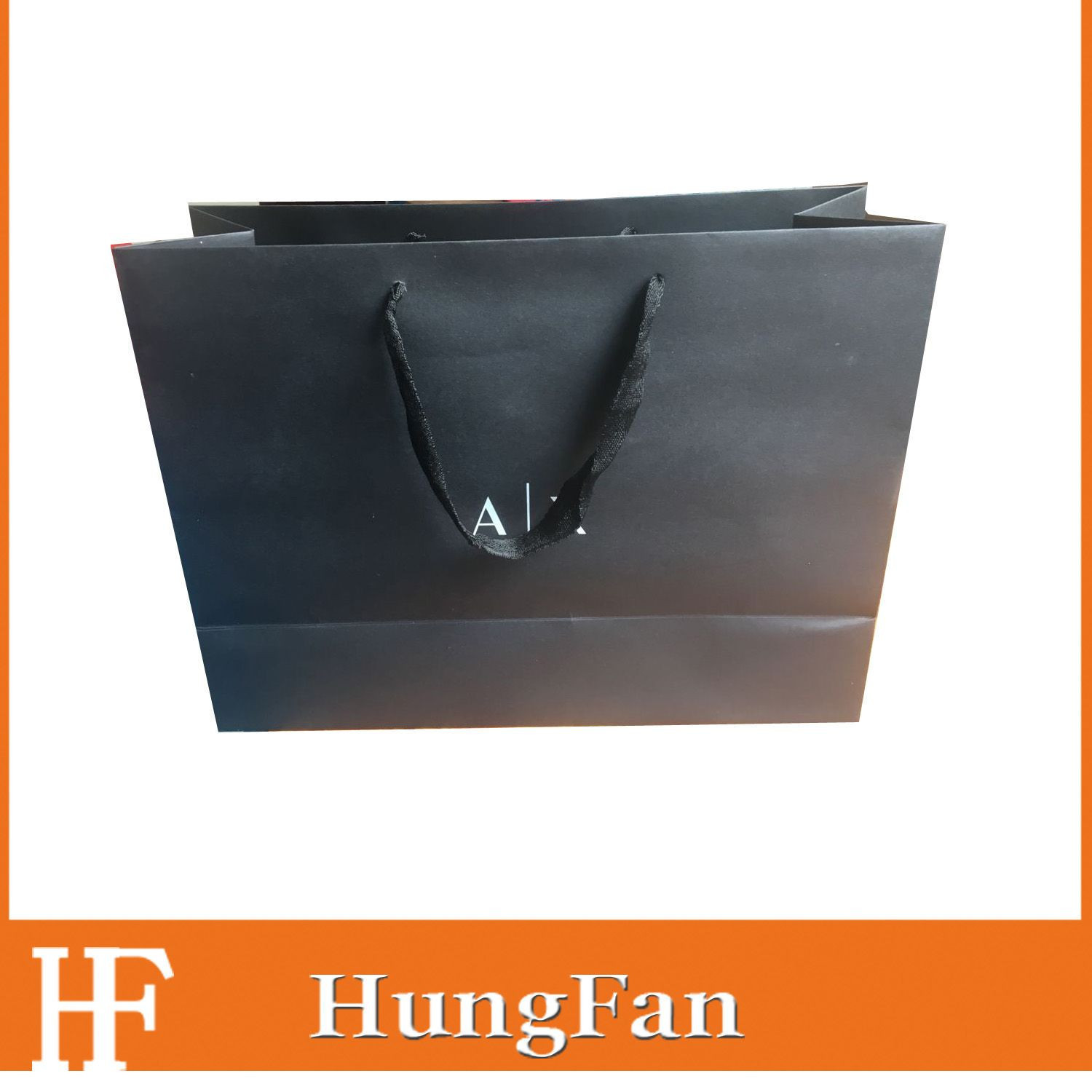 Black Cardboard Fashion Design Gift Custom Shopping Paper Bag with Your Own Logo