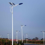 8m post with 1.5m single arm 60w light source battery base electric box and line solar energy street lamp pole