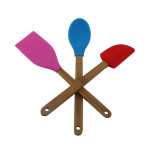 Bamboo Wood Nonstick Cooking Utensils, Silicone  chefs and bakers cooking tool , Spatula set  cooker kit