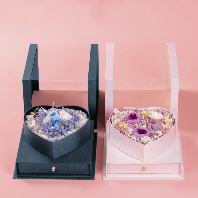 Luxury Pretty Heart Shape Flower Paper Box Transparent Window Flower Packaging Box With Drawer