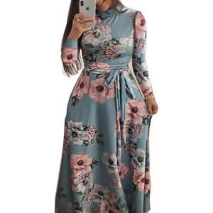 Wholesale high quality flower Dresses Women Long sleeve Party Dress