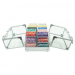 600pcs Transparent Silver Aluminum Double Open Case 600pcs EPT  Chips set Portable Suitcase Storage Box With 6 Acrylic Trays