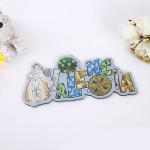 New products customized Spain Menorca Valencia 3D Creative Silver Aluminium Foil Souvenirs Fridge Magnet