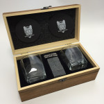 Whiskey Stones Set with 2 Crystal Whiskey Glasses, Stainless Cigar cutter by gift wood box Gifts BLACK FRIDAY
