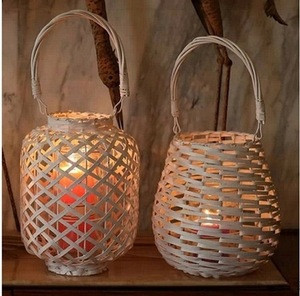 garden and home decorative wicker woven rustic candle lantern with glass hurricane