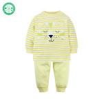 OEM Wholesale kid clothing 100% Organic Cotton Baby Pajamas Set Long Sleeve Lovely Lion Baby Clothes Set Newborn 2 pcs