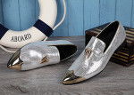NA040 New Italian Men Dress Shoes Genuine Leather Luxury Wedding Business Male Pointed Toe Formal Shinny Sliver Shoe