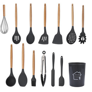 Amazon hot sale food grade cooking tools kitchenware silicone cooking utensil sets with wooden handle spoon turner spatula tong