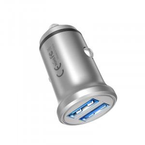 Dual Port USB 12V 24V Aluminum Car Charger Adaptive 5V 2.4A Max 4.8A